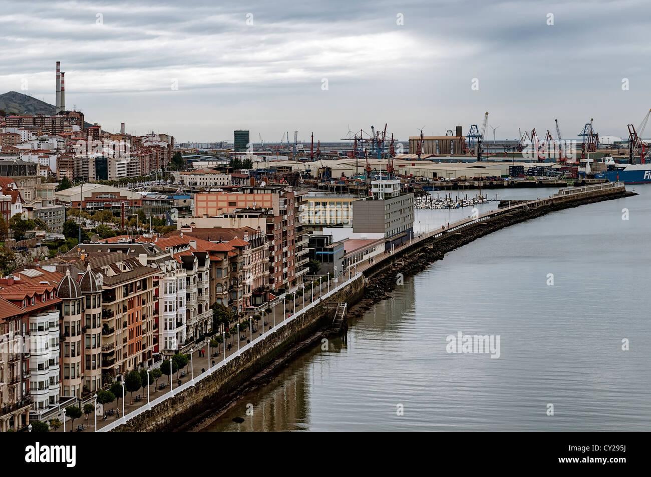panoramic view of Santurce, Santurtzi, Bilbao, Vizcaya, Basque country, Spain, Europe - Stock Image