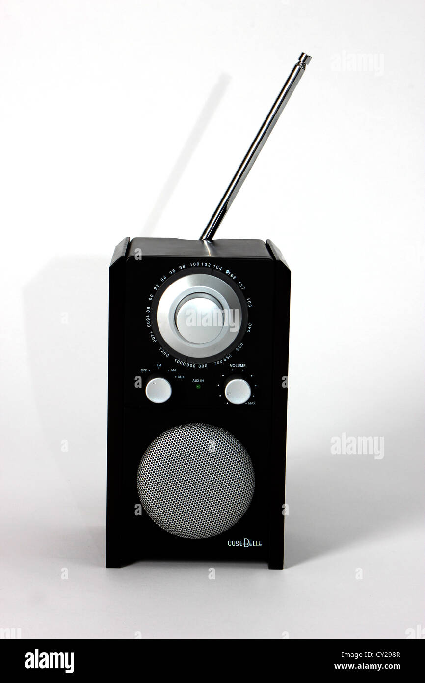 funny smart black radio on a clear white background, studio