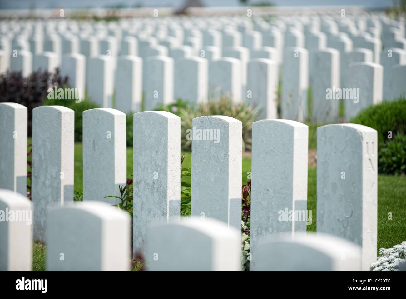 Tyne Cot military cemetery Passchendael - Stock Image