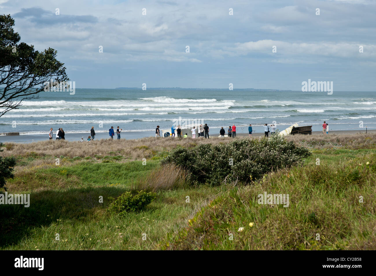 Mount Maunganui beach where cargo, containers and oil spill wash ashore after the grounding of cargo ship Rena in - Stock Image