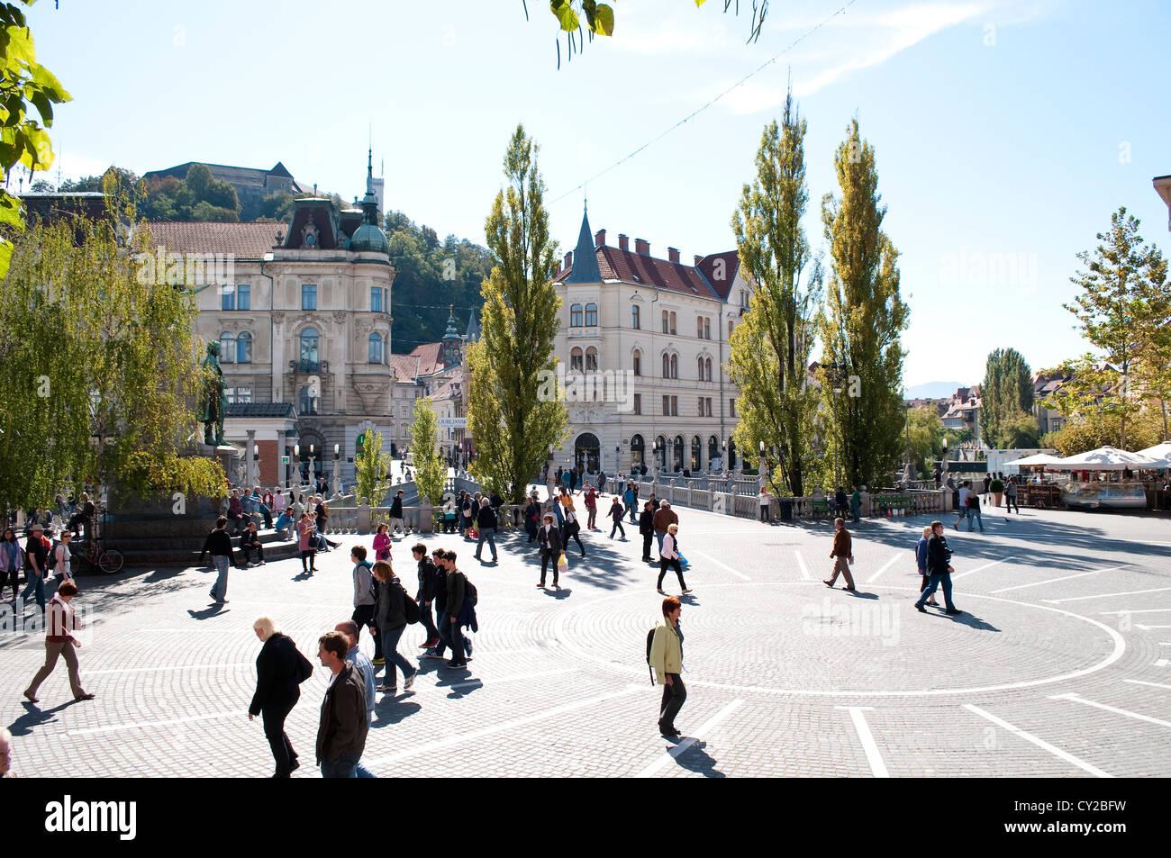 Prešeren Square, Ljubljana, Slovenia - Stock Image