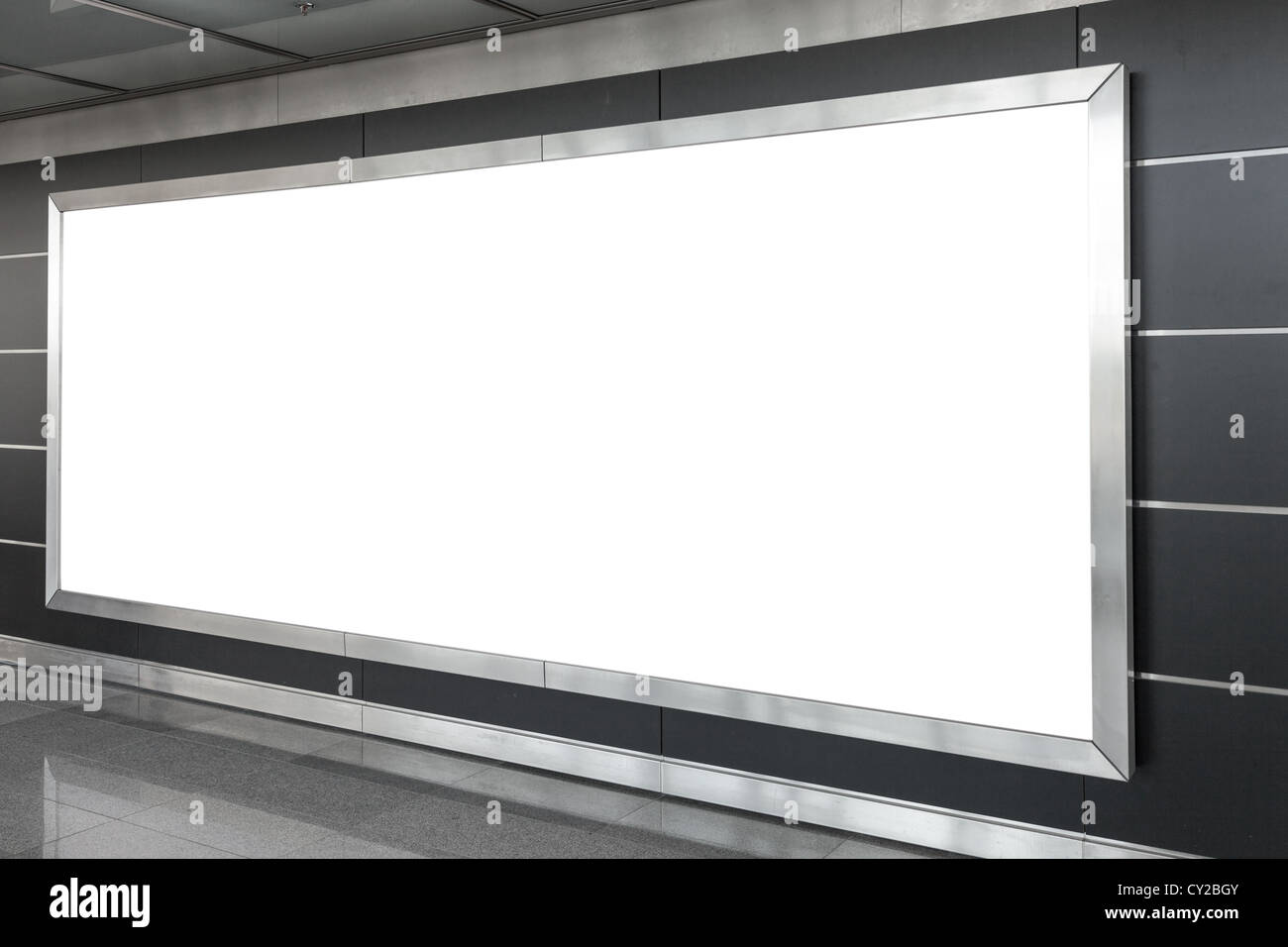 Blank billboard in modern interior hall - Stock Image