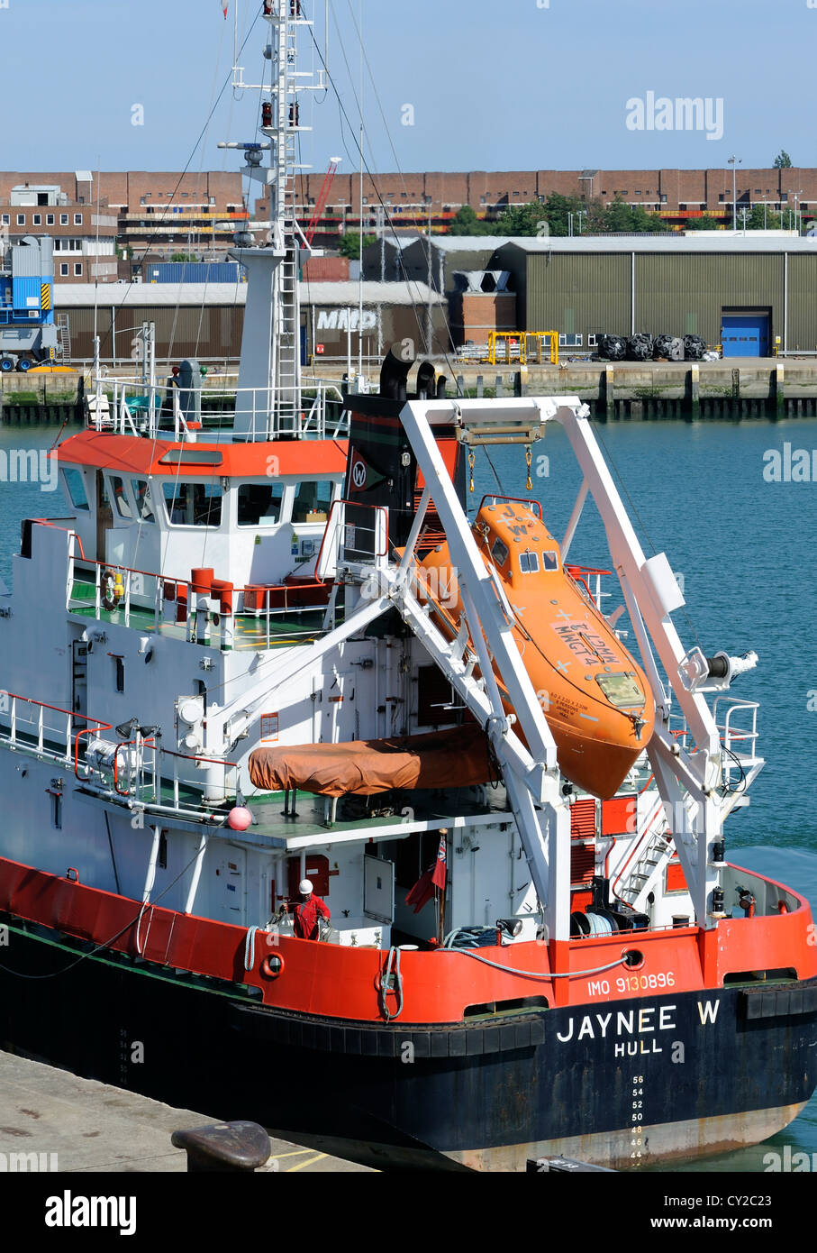 Lifeboat mounted on the stern of a ship. Portsmouth, Hampshire, UK. 1 - Stock Image