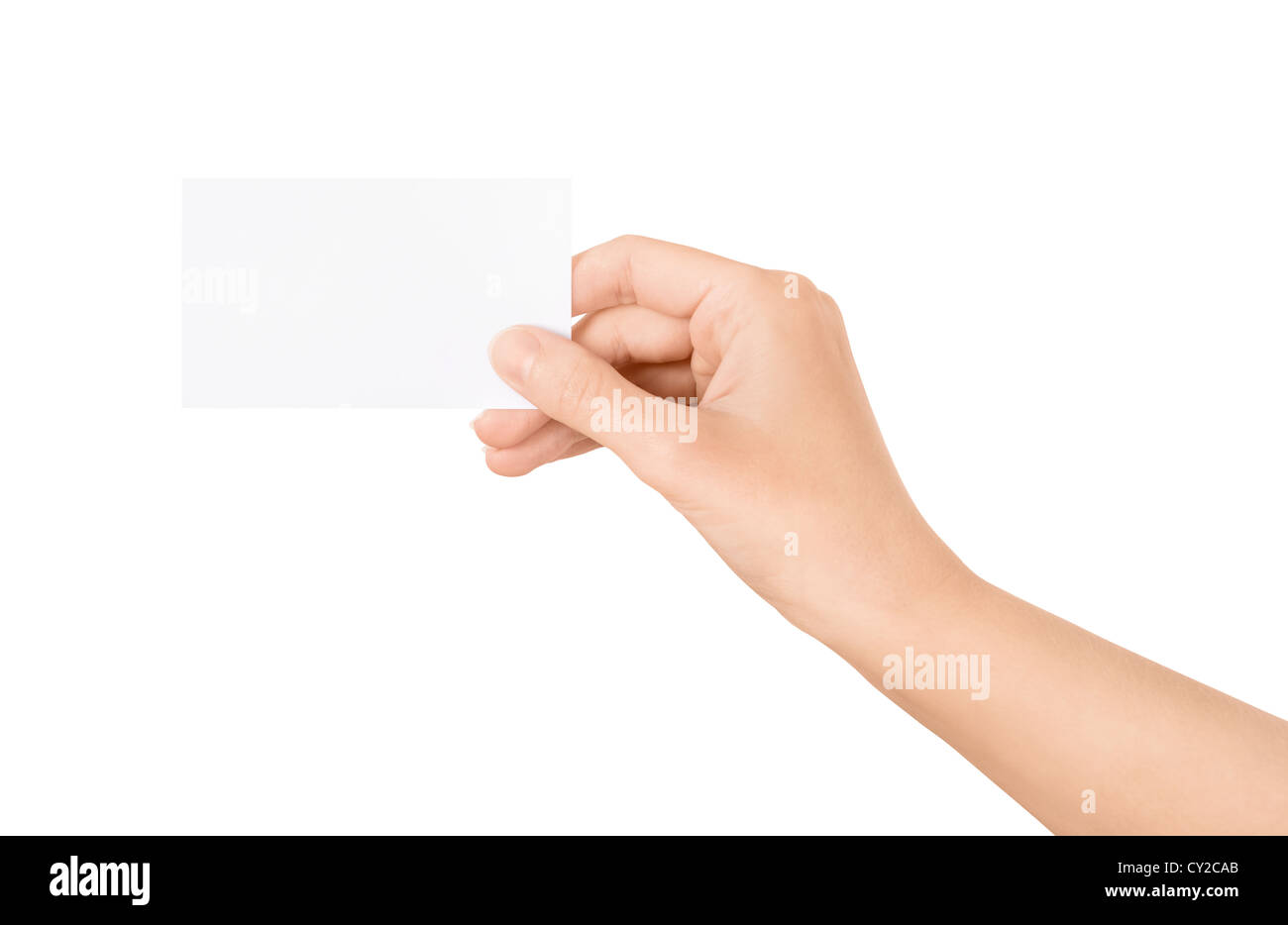 Woman holding blank business card in hand. Isolated on white. - Stock Image