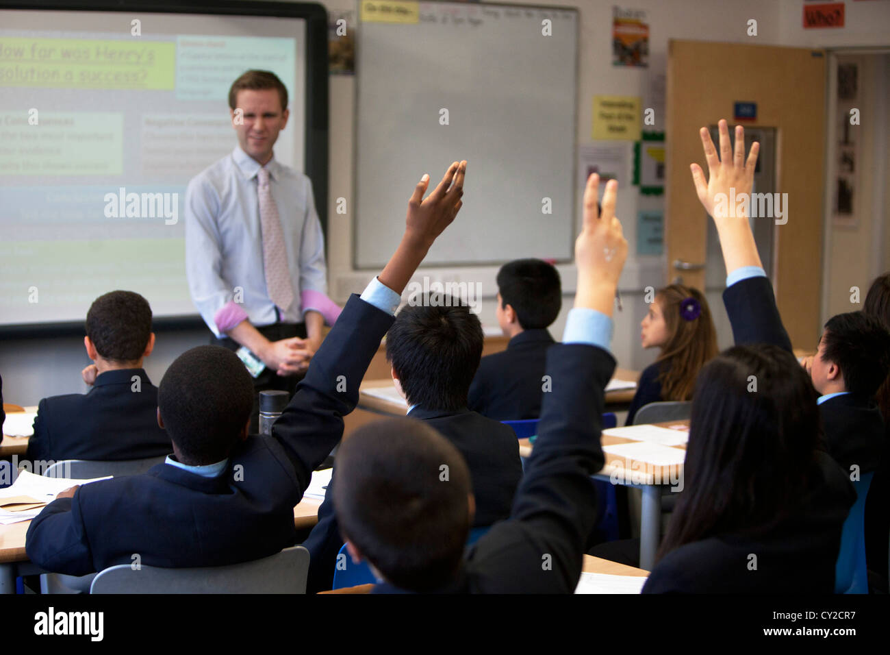 Modern Classroom Teacher ~ Education uk modern students classroom stock photos