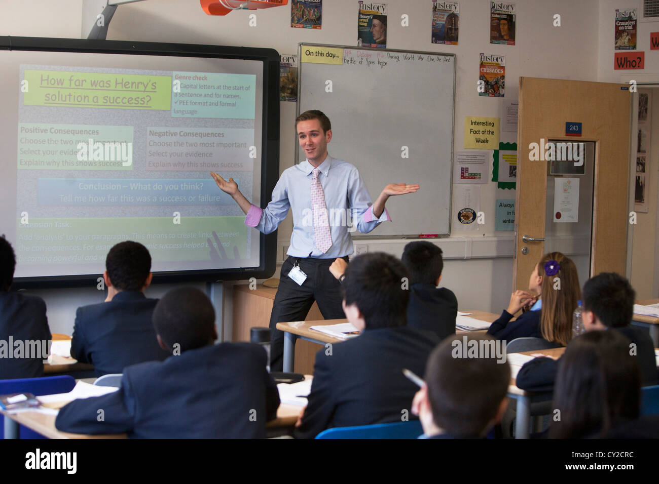 Teacher takes a class at Pimlico Academy, a modern secondary school providing aspirational education in London, - Stock Image