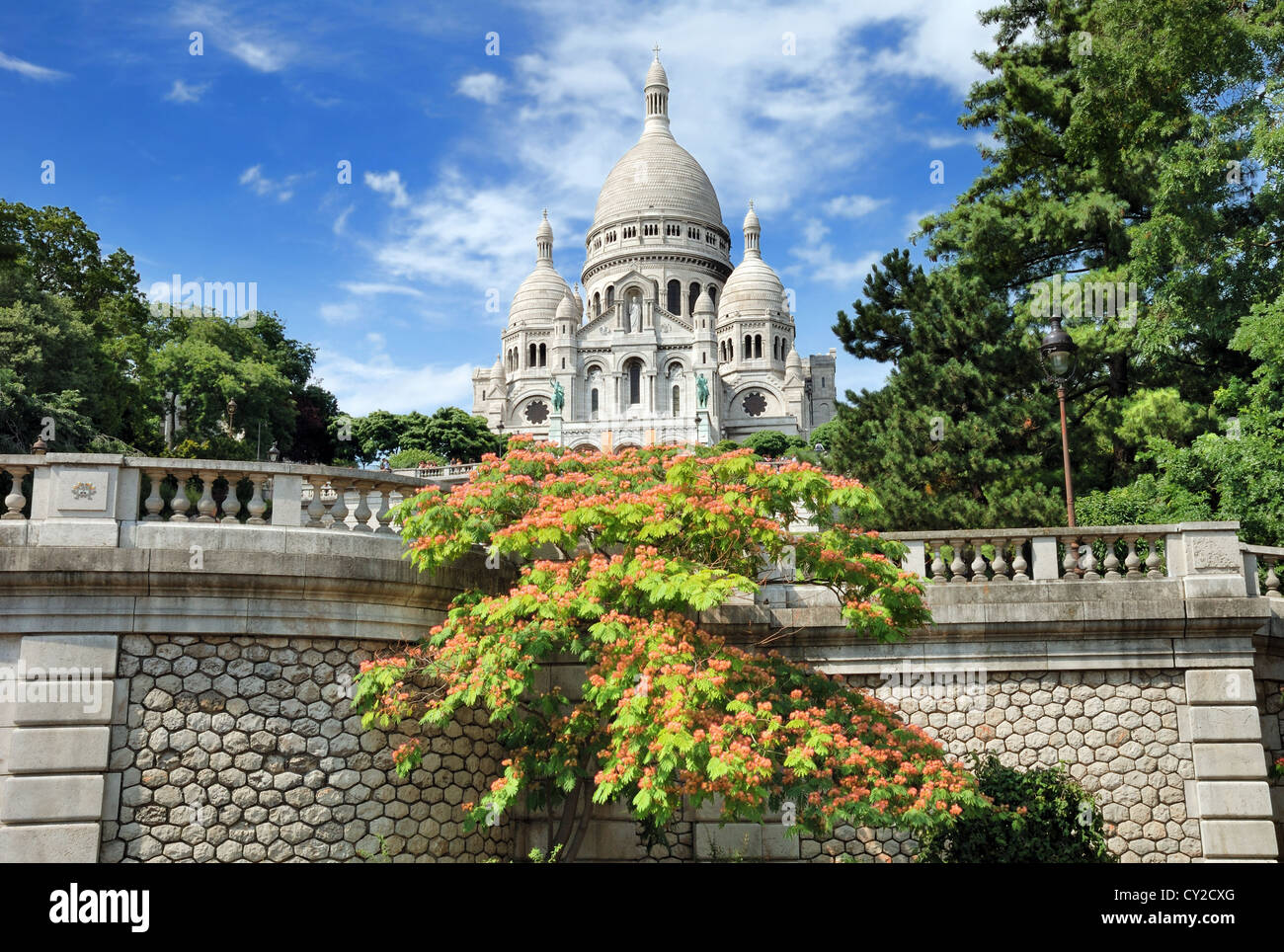The basilica Sacre Coeur, 'Basilica of the Sacred Heart of Jesus' on Montmartre in Paris, France. - Stock Image
