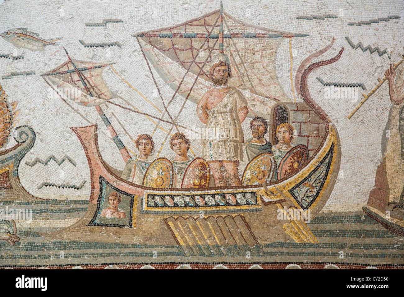 Ulysses Mosaic from Dougga at the Bardo Museum in Tunis Tunisia Stock Photo