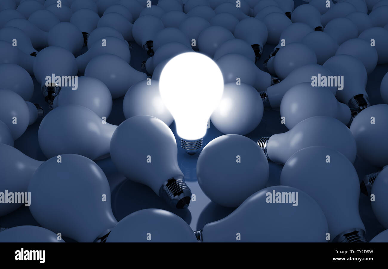 High Resolution 3d Render Of Light Bulb Clipart On Dark Blue Background