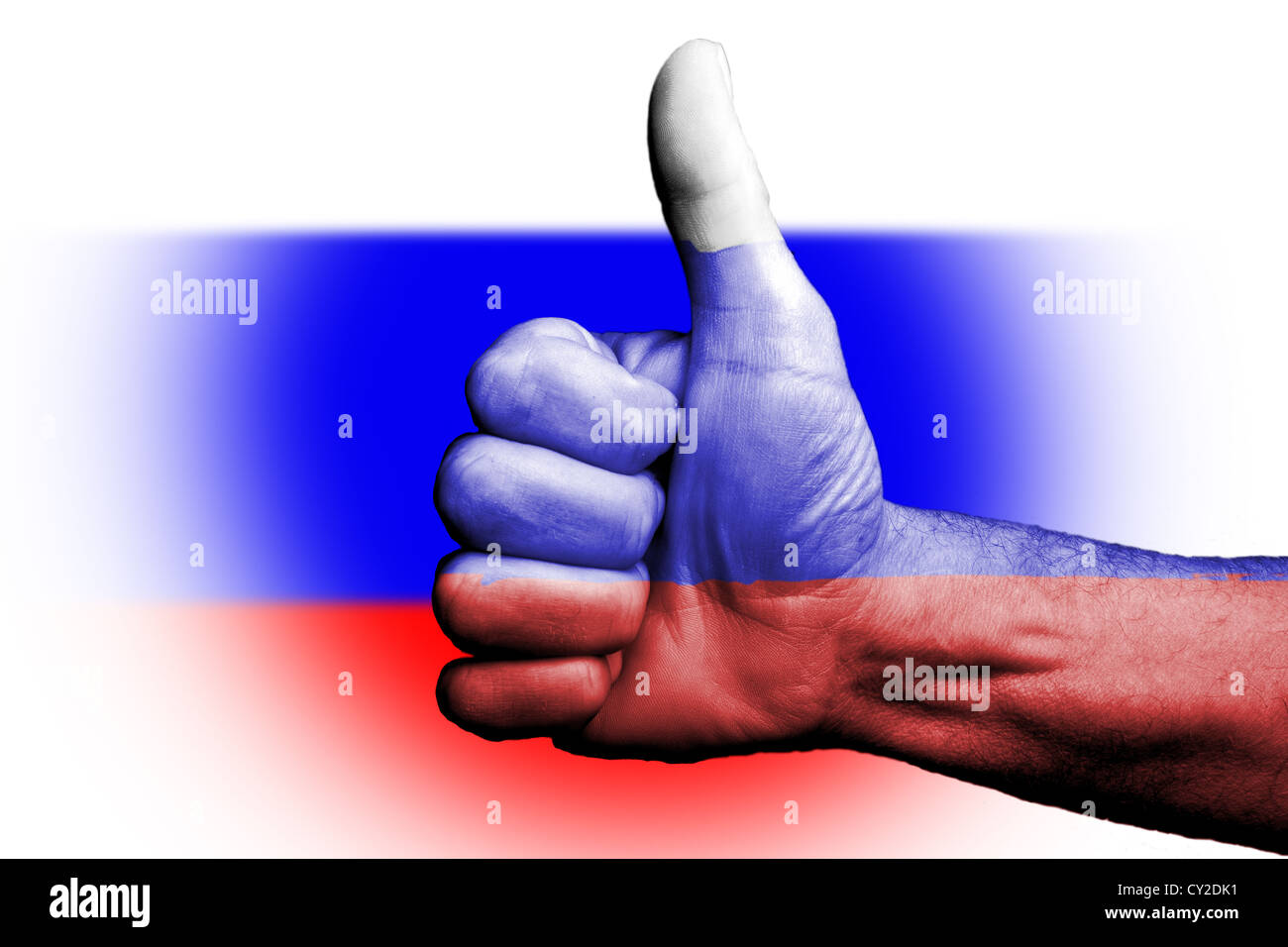 Thumbs up for to Russia Russians, sporting metaphor we are going to win prevail,vote of confidence for country and - Stock Image
