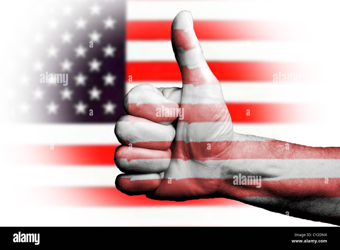 Thumbs up for to America USA Americans, sporting metaphor we are going to win prevail,vote of confidence for country - Stock Image