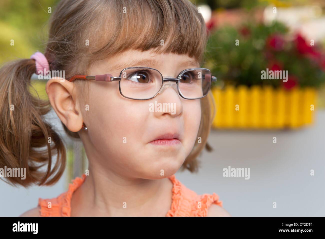 Little girl starts crying Stock Photo