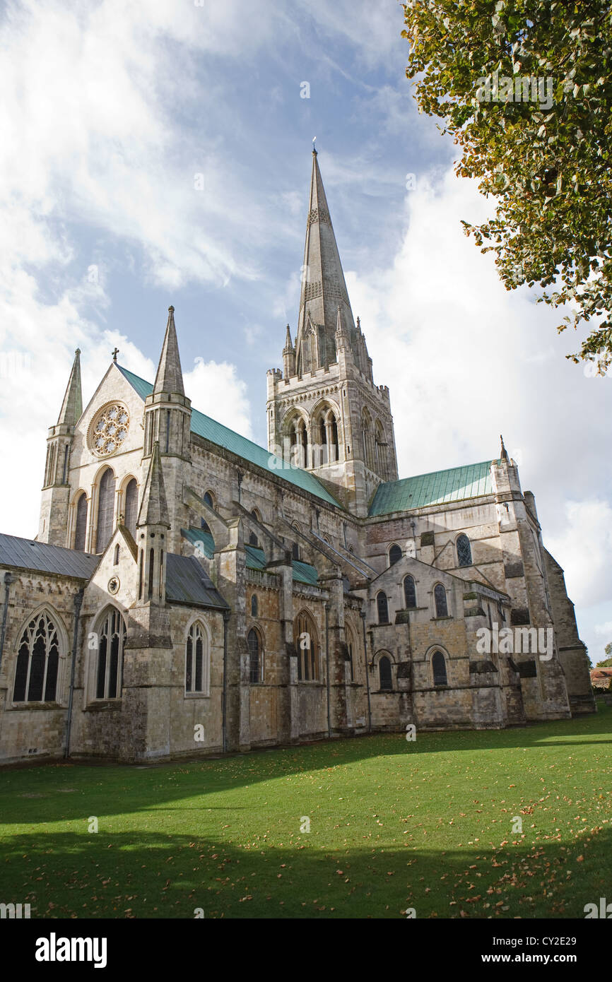 Chichester Cathedral On a beautiful autumn day with a blue sky - Stock Image