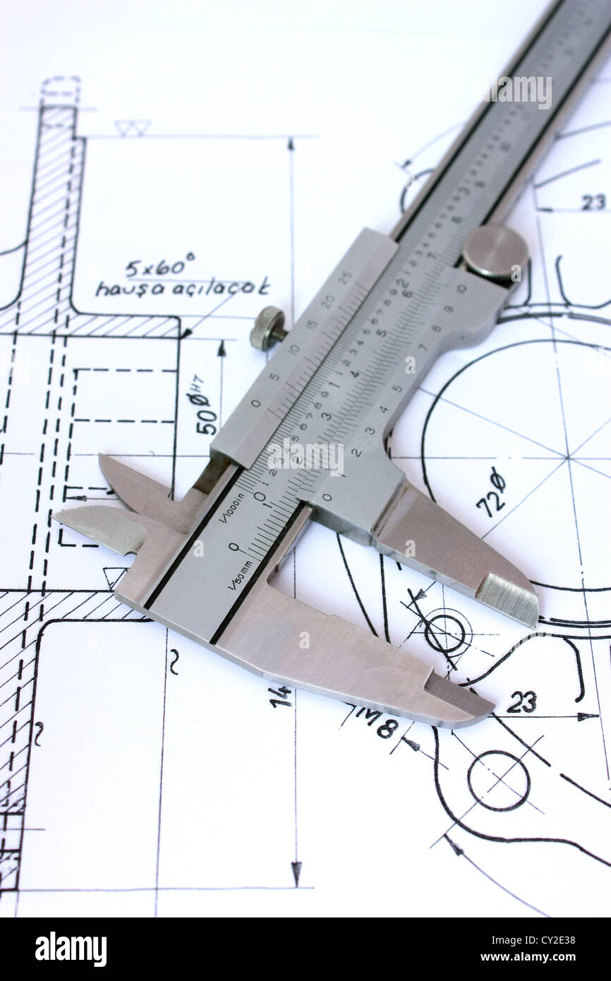 Caliper on Blueprint. Vertical. Shallow Depth of Field - Stock Image