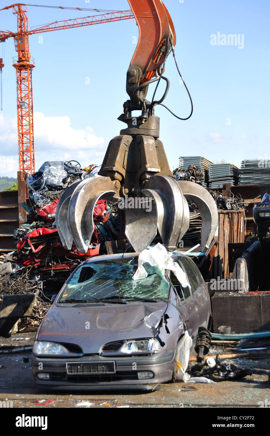 Thousands of old cars will be destroyed at the scrapyard in Germany - Stock Image