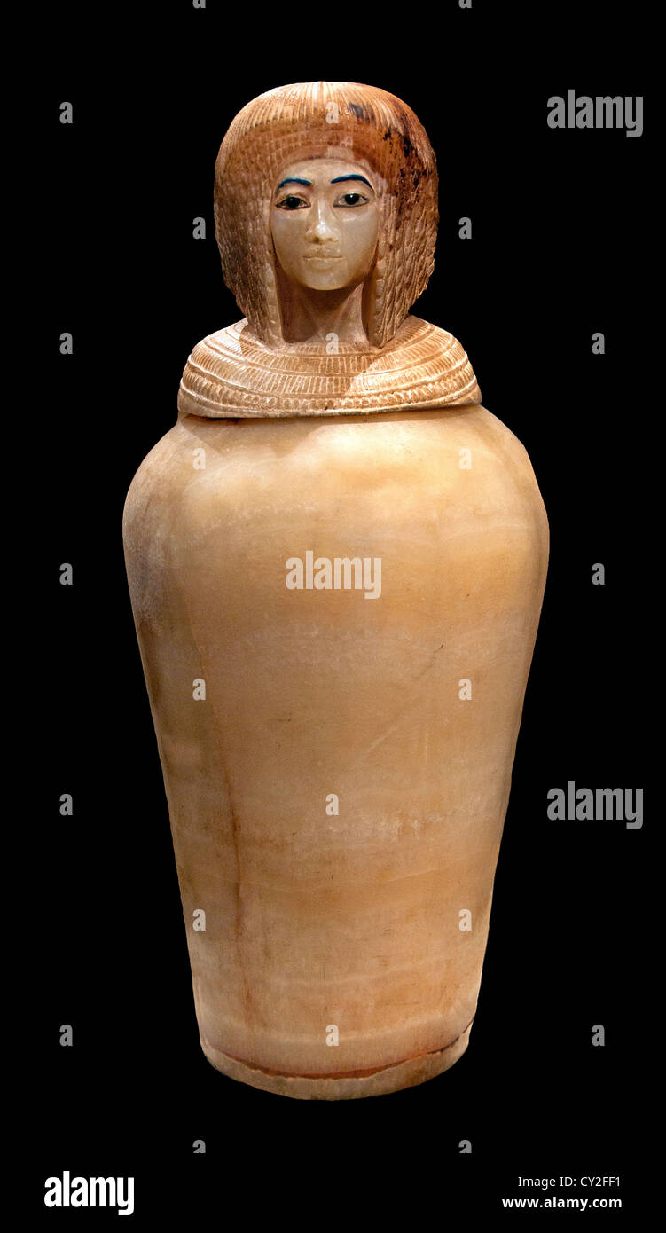 Canopic Jar  New Kingdom 18 dynasty 1353 - 1336 BC reign Akthenaten  Egyptian Egypt Albaster from Thebes Valley - Stock Image