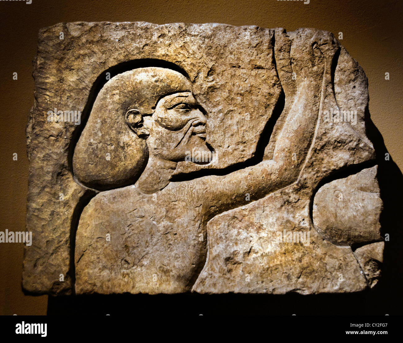 Relief fragment of an Asiatic Prisoner   Pharaoh Ramesses II 19 dynasty 1279 - 1213 BC  Egyptian Egypt - Stock Image