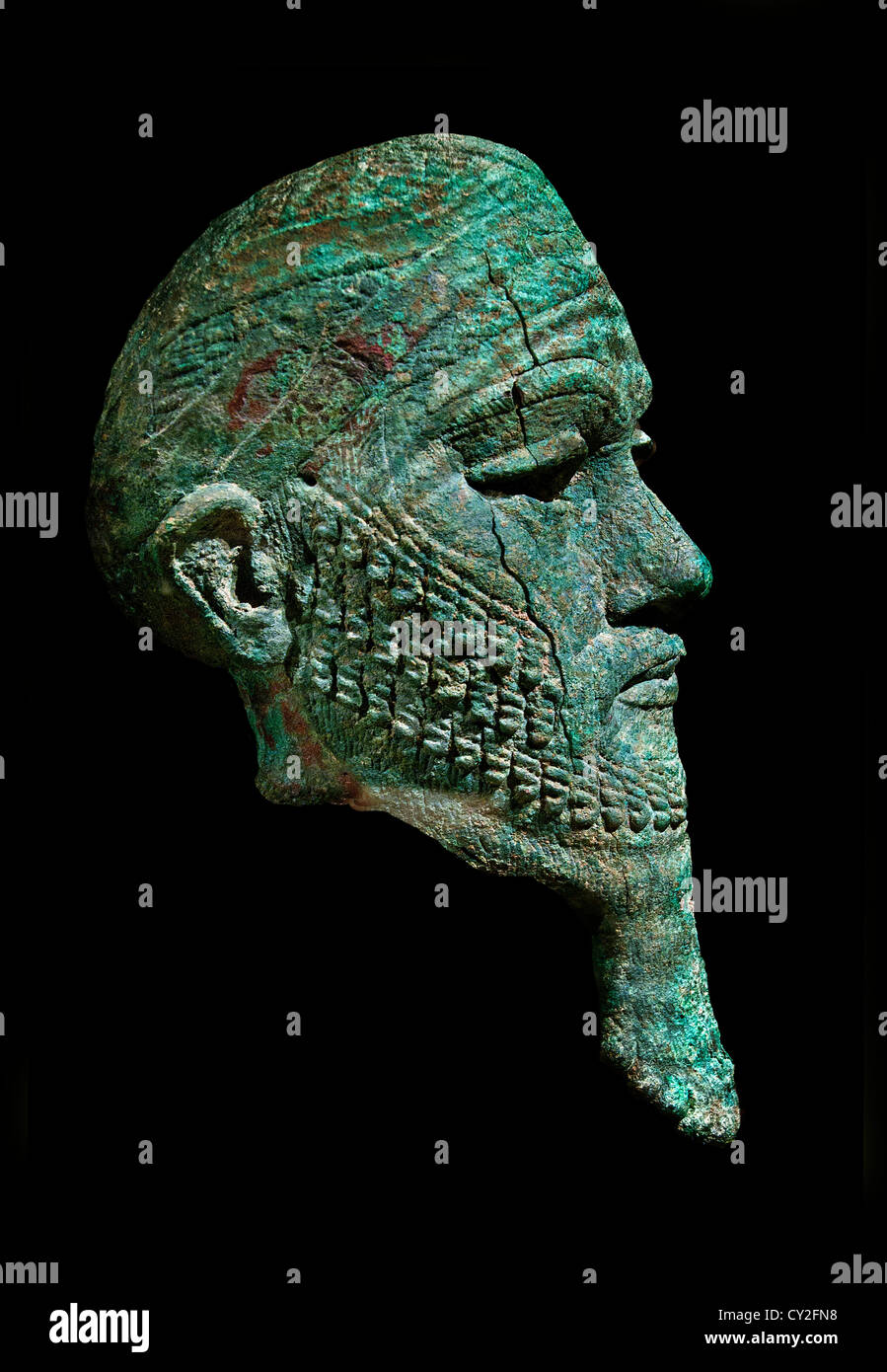 Head of a ruler  Early Bronze Age 2300–2000 B.C.  Iran or Mesopotamia Copper 34cm Akkadian Empire - Stock Image