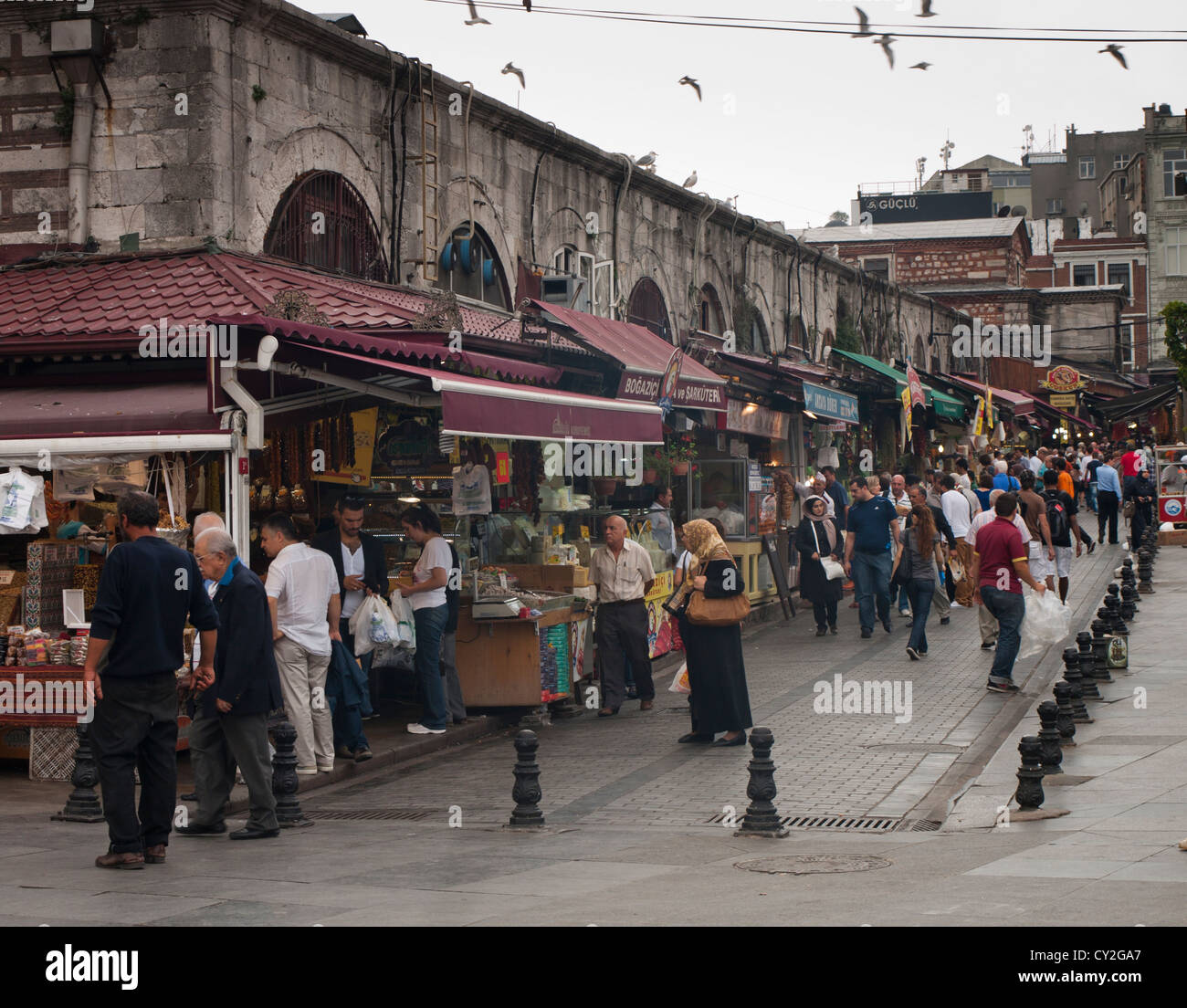 The Egyptian bazaar or spice market, in Istanbul Turkey, an interesting place, here outside view with shoppers and - Stock Image