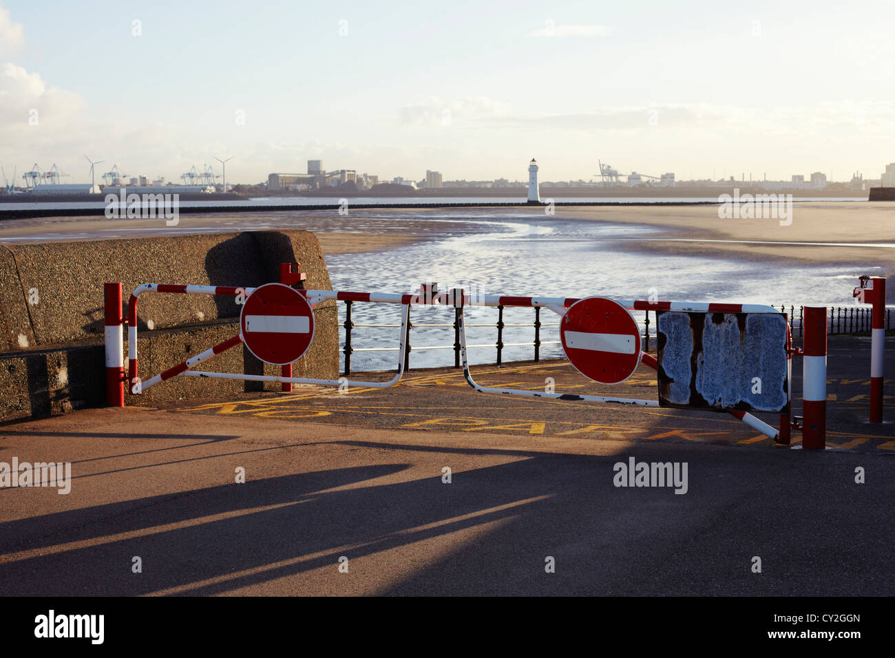 No entry to New Brighton beach at Liverpool - Stock Image