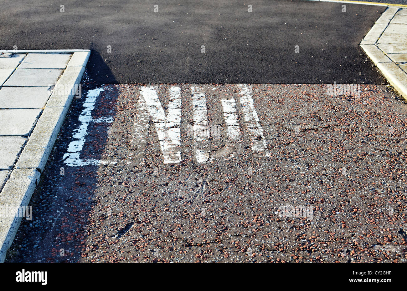 End painted on road - Stock Image