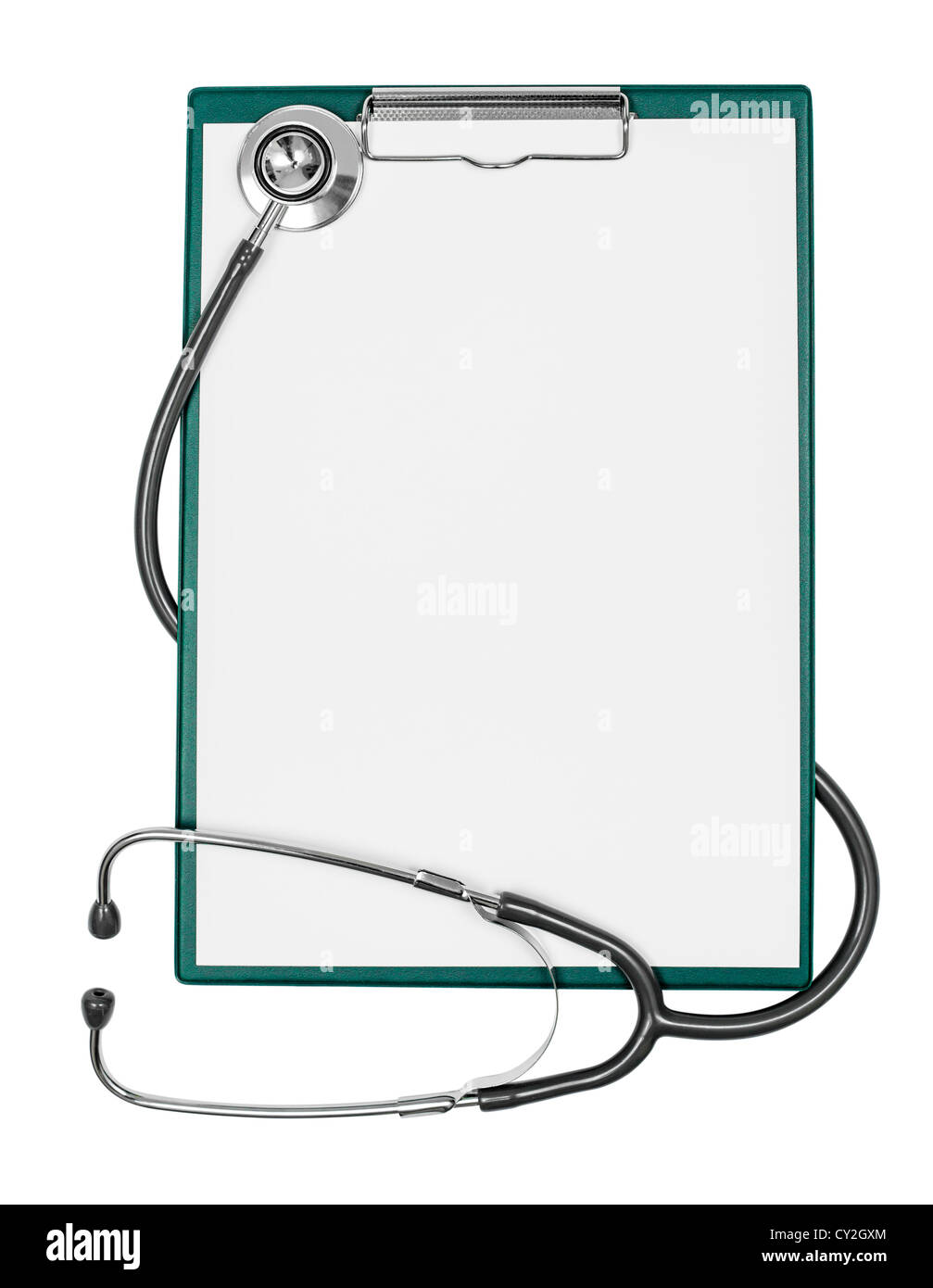 medical clipboard with blank paper sheet and stethoscope - Stock Image