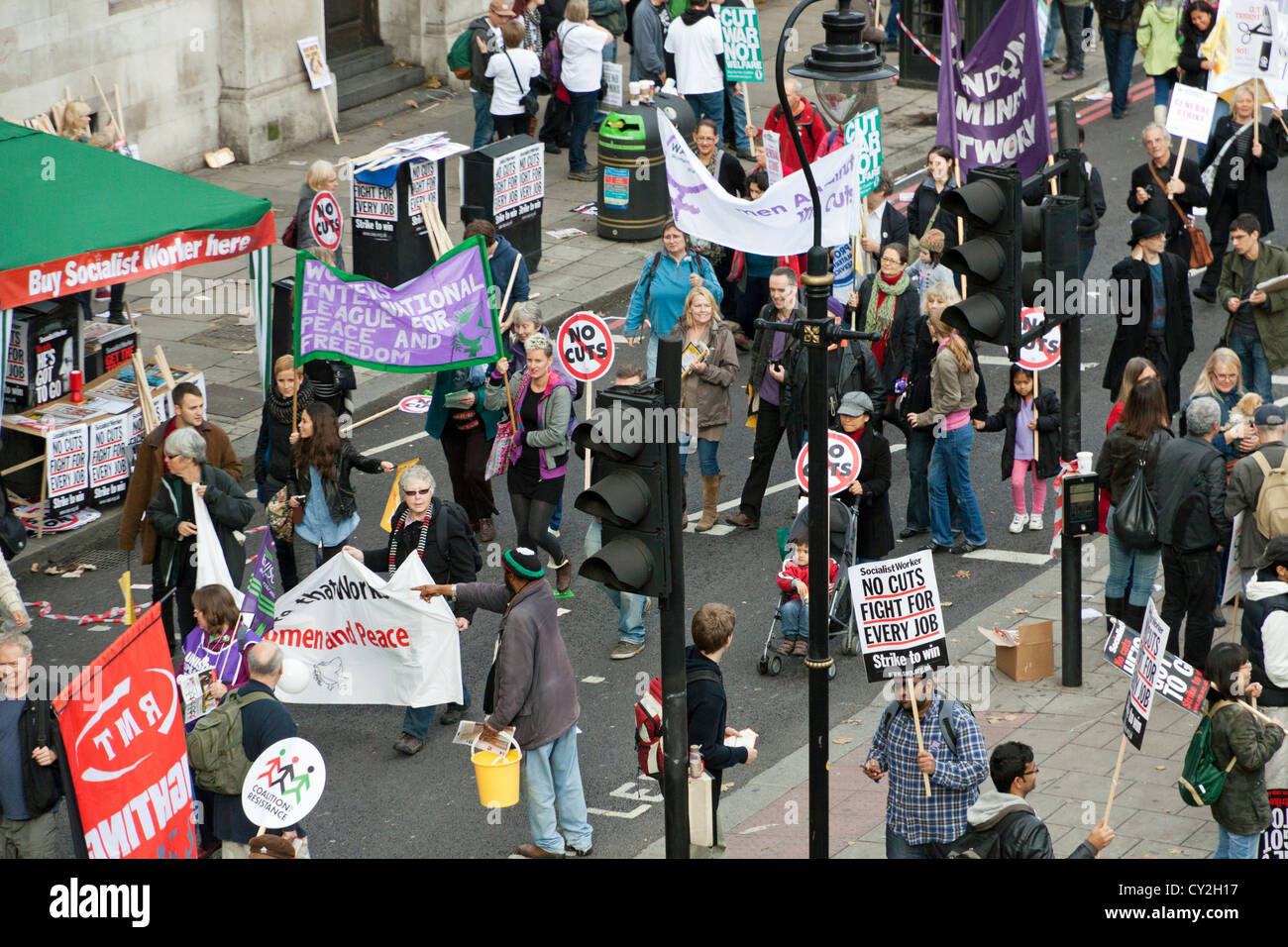 Public service Demonstration against Government cuts in London on 20 October 2012 - Stock Image