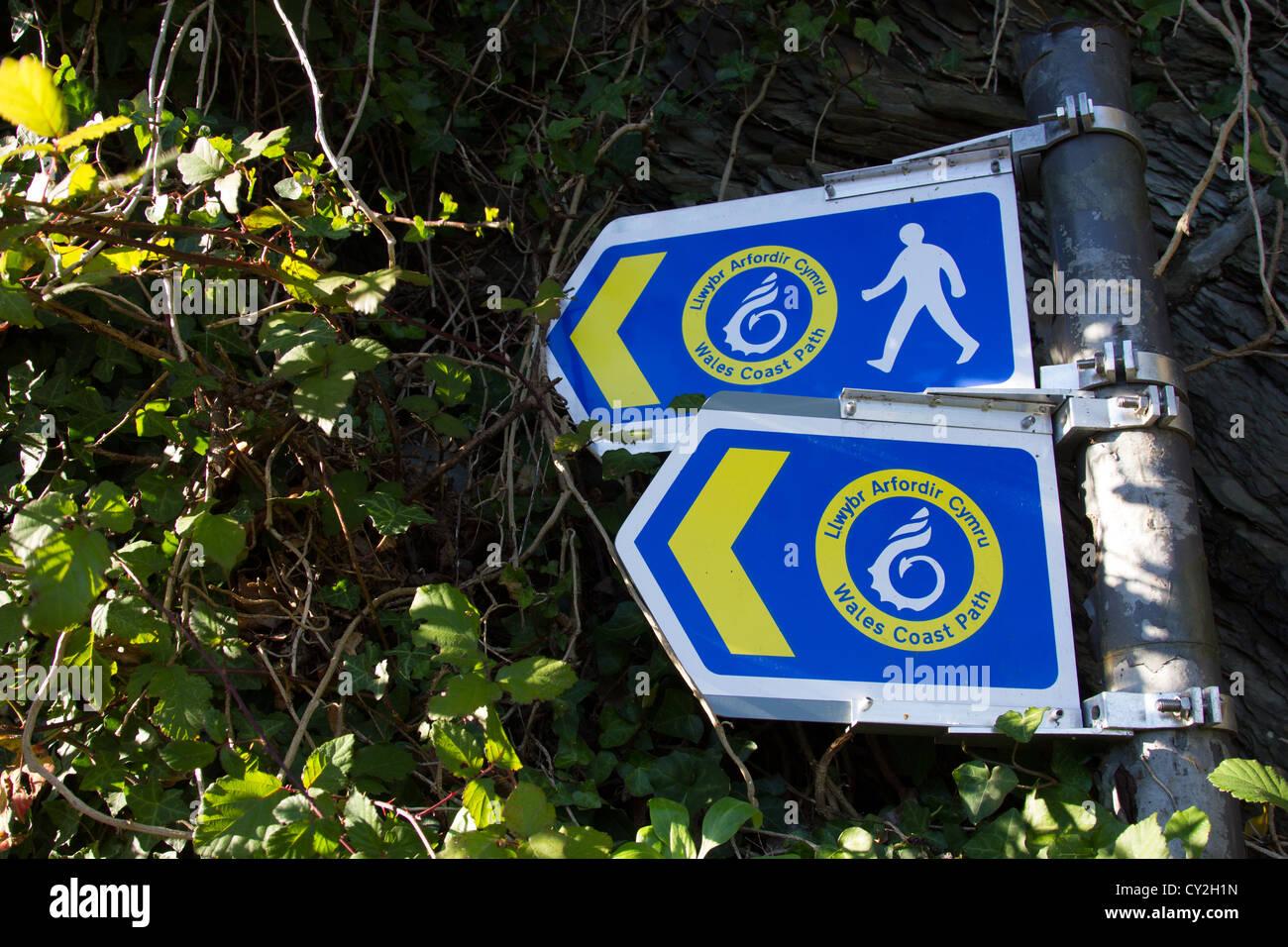 Wales coastal path signpost - Stock Image