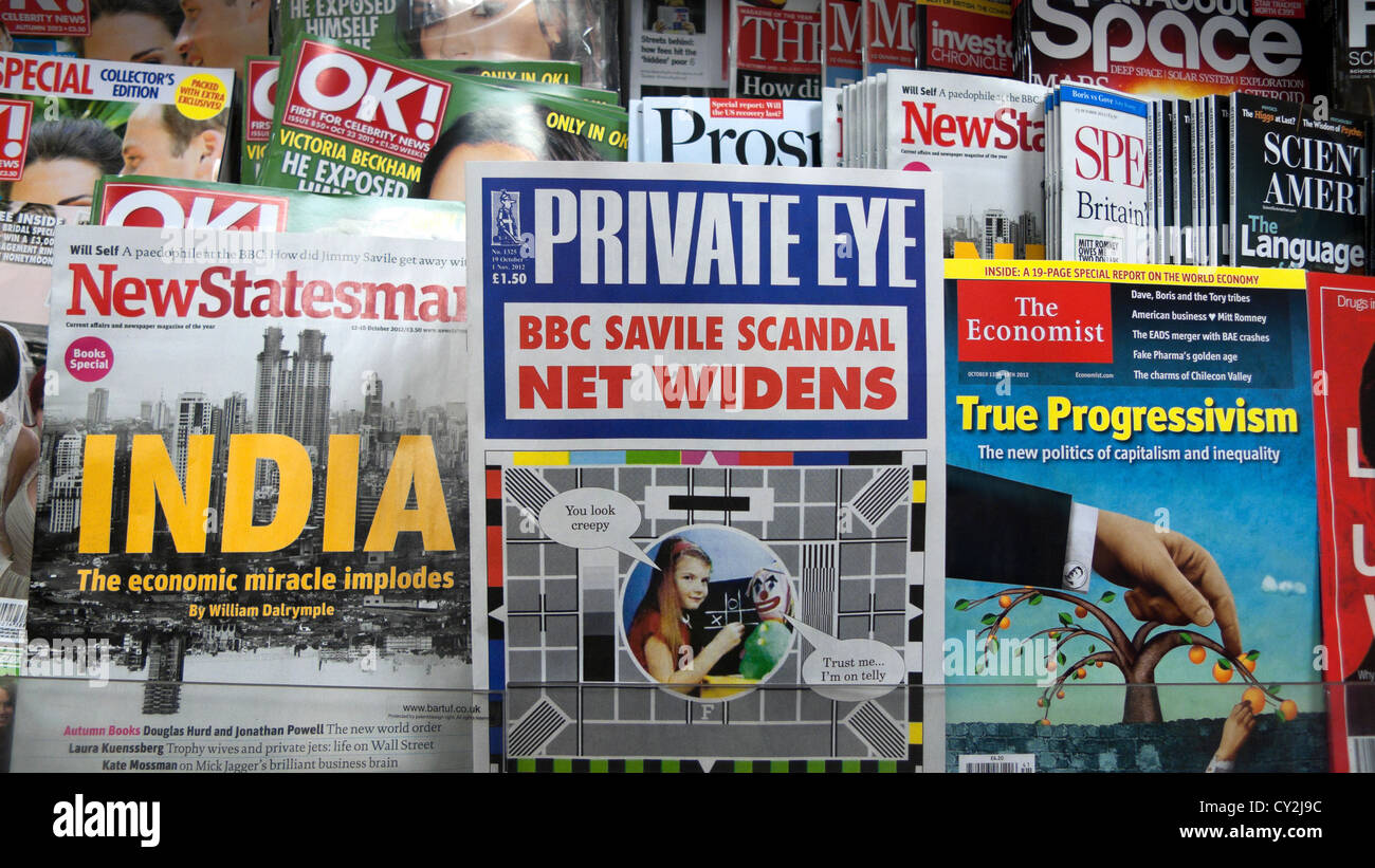 The cover of Private Eye magazine on a magazine shelf front cover BBC Savile Scandal Britain, UK October 2012   - Stock Image