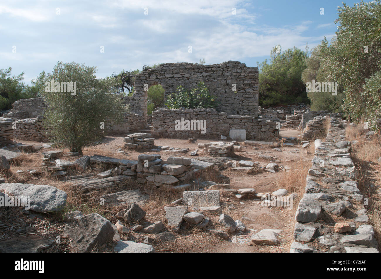 Thassos, Greece. Greek island. September. Ruins of two early Christian basilicas on the penninsula at Alyki or Aliki Stock Photo
