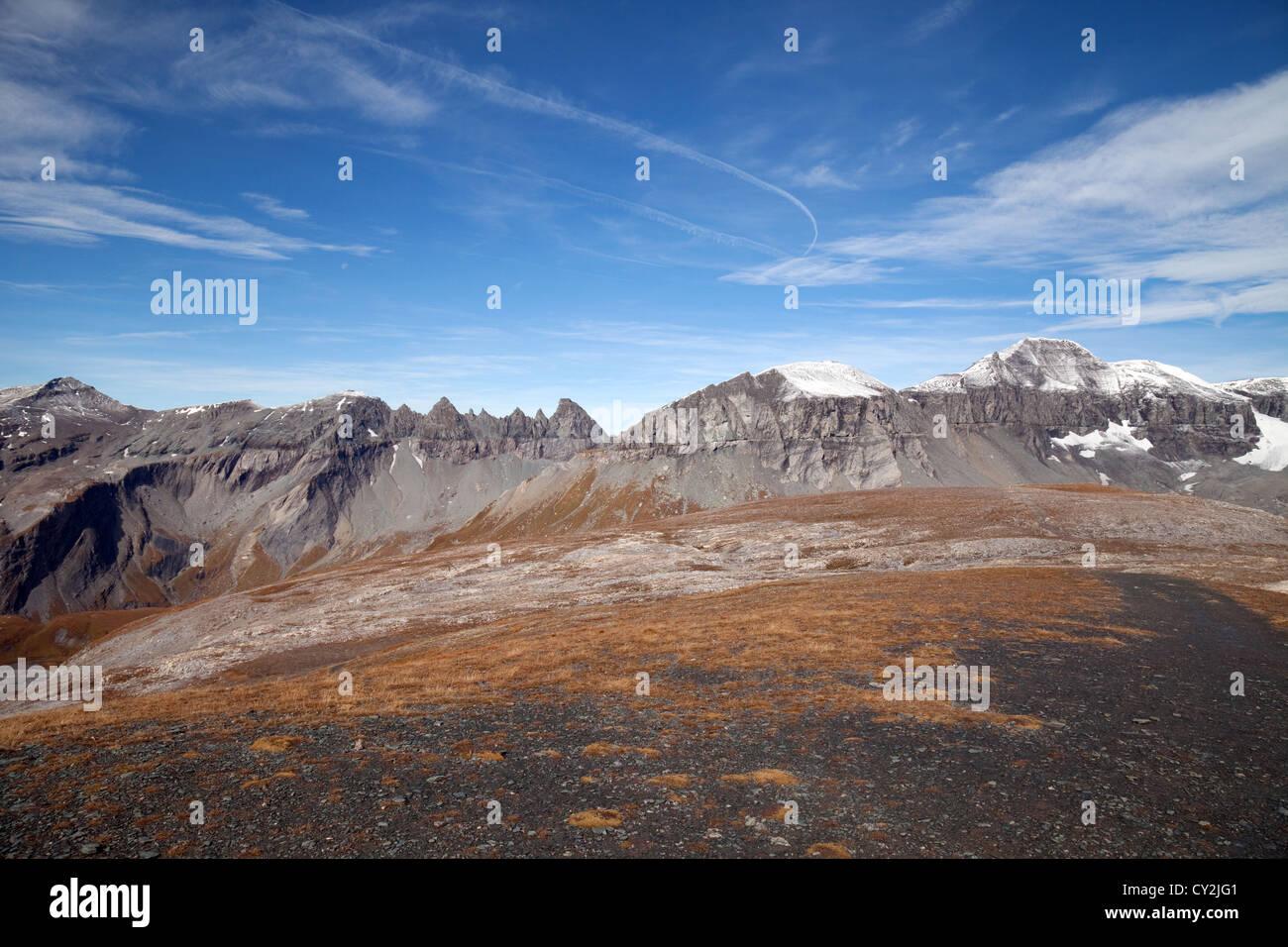 The Glarus thrust World heritage site, Swiss Alps at Flims, Switzerland Europe - Stock Image