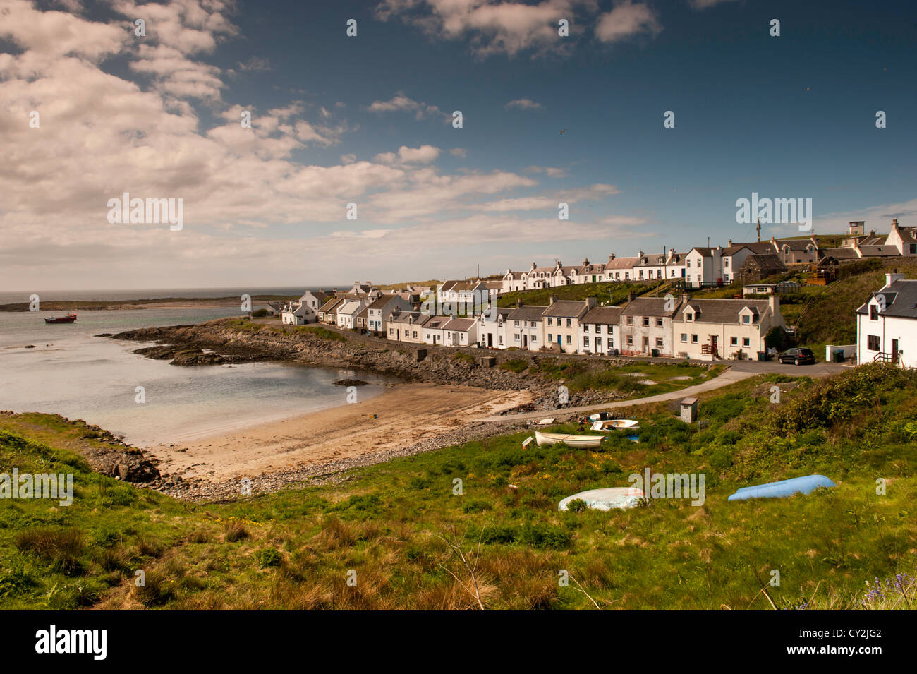Elevated view of Portnahaven harbour and houses, Islay Scotland. - Stock Image