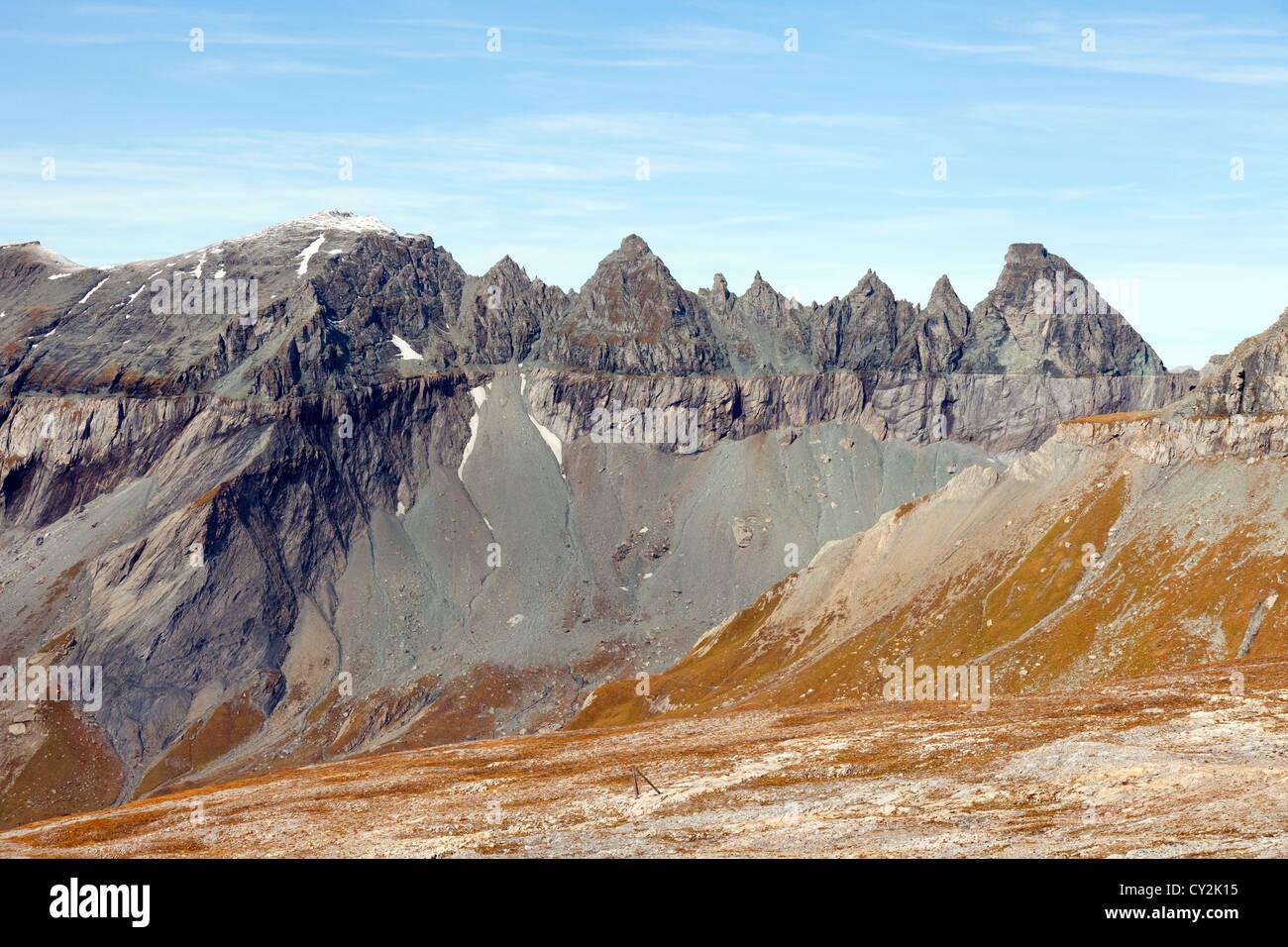 The Tschingelhorner, part of the glarus thrust UNESCO World heritage site at Flims, Switzerland, Europe - Stock Image