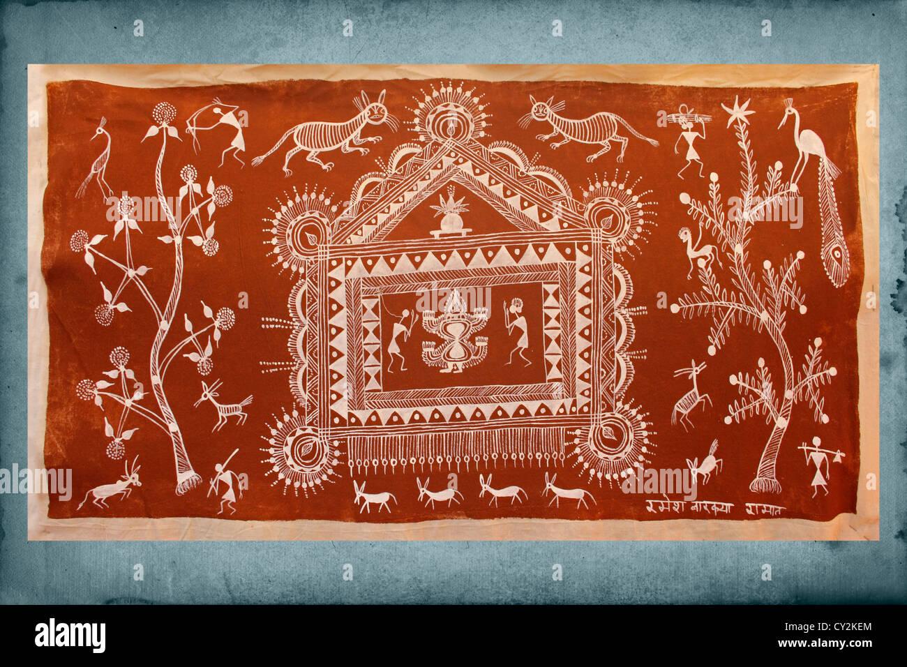 Warli wall painting handicraft maharashtra india stock photo warli wall painting handicraft maharashtra india altavistaventures Image collections
