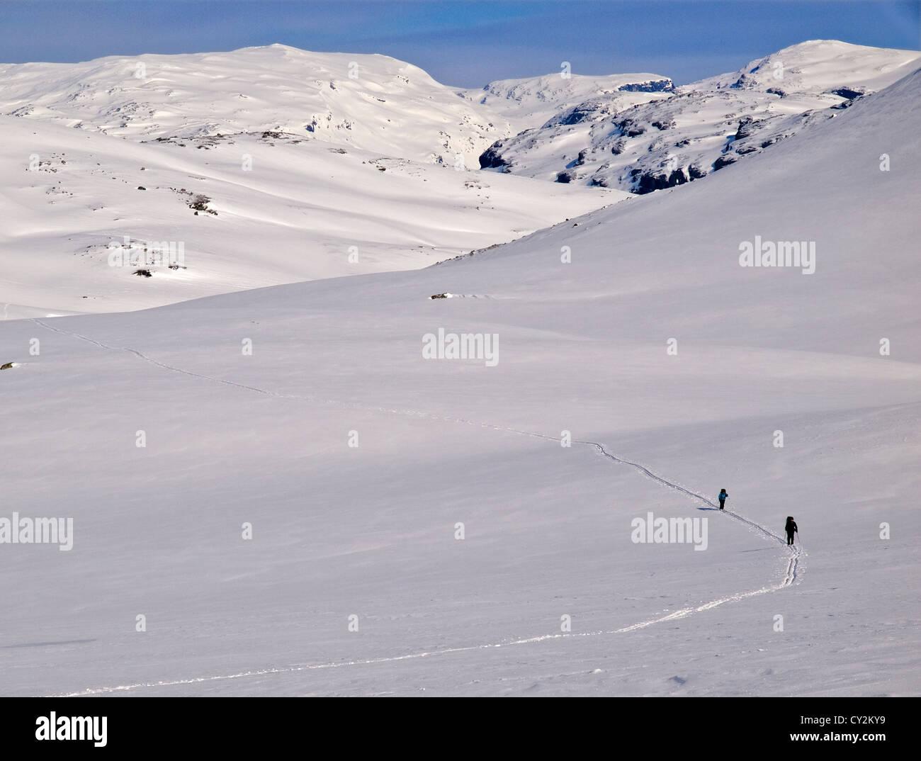 ski touring in the Hardanger region of Norway - Stock Image