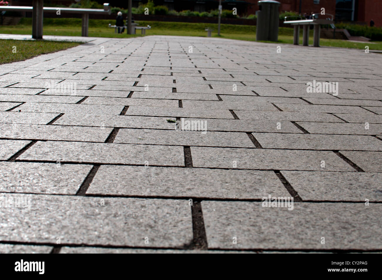Block paving, low angle view - Stock Image