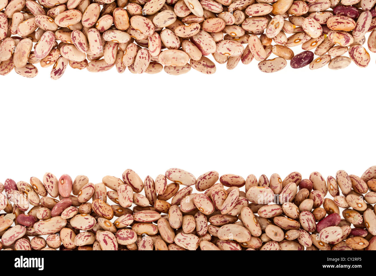 Pinto beans or mottled beans arranged in a frame - Stock Image