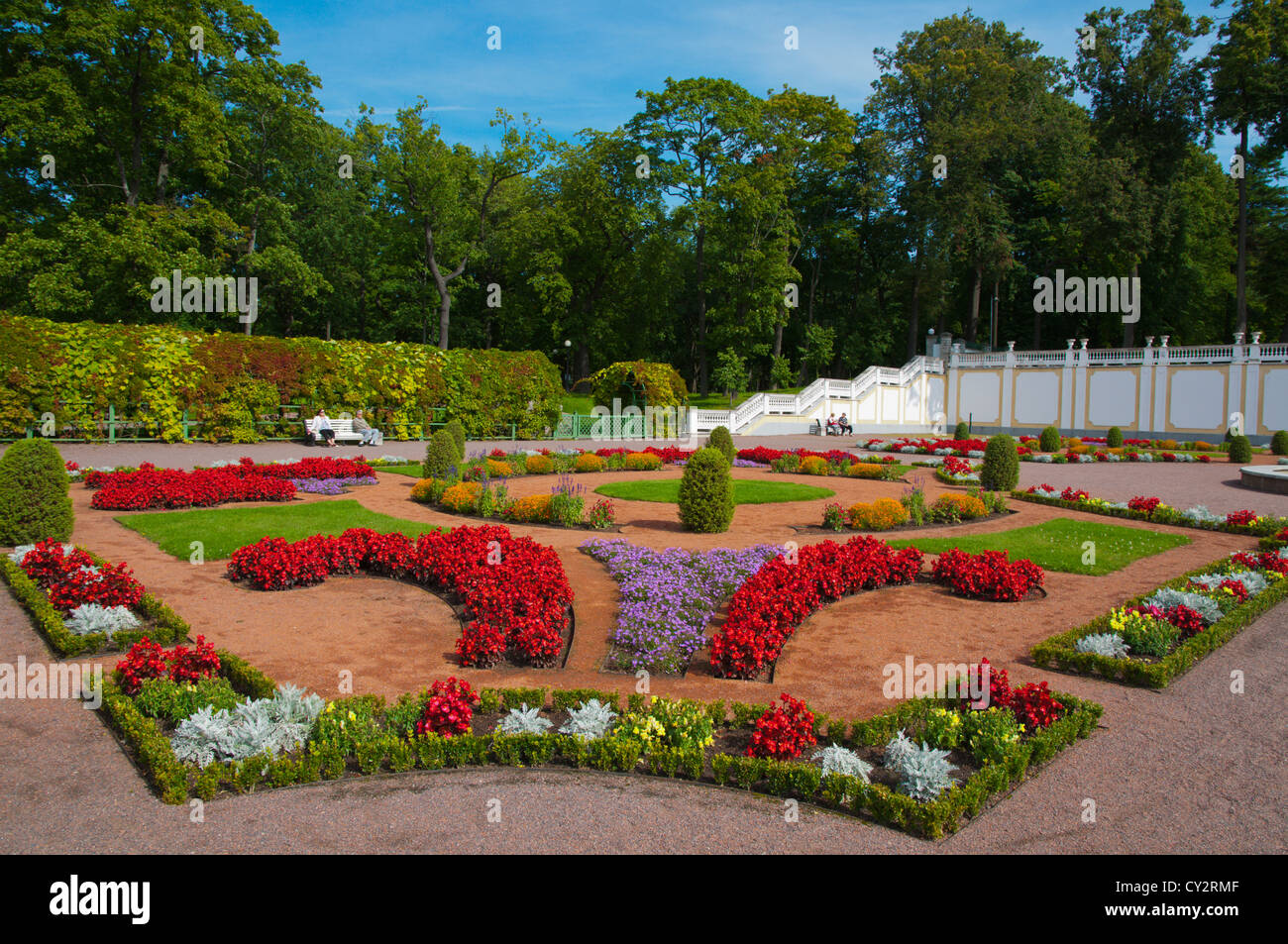 Flower garden of 18th century Baroque style Kadriorg Palace in Kadrioru park the Kadriorg park Tallinn Estonia Europe - Stock Image