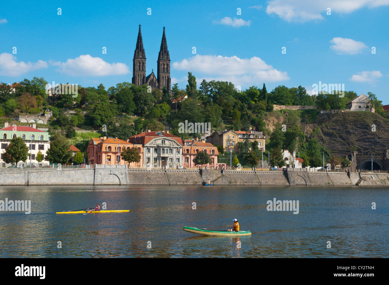 Vysehrad hill by Vltava riverside central Prague Czech Republic Europe - Stock Image
