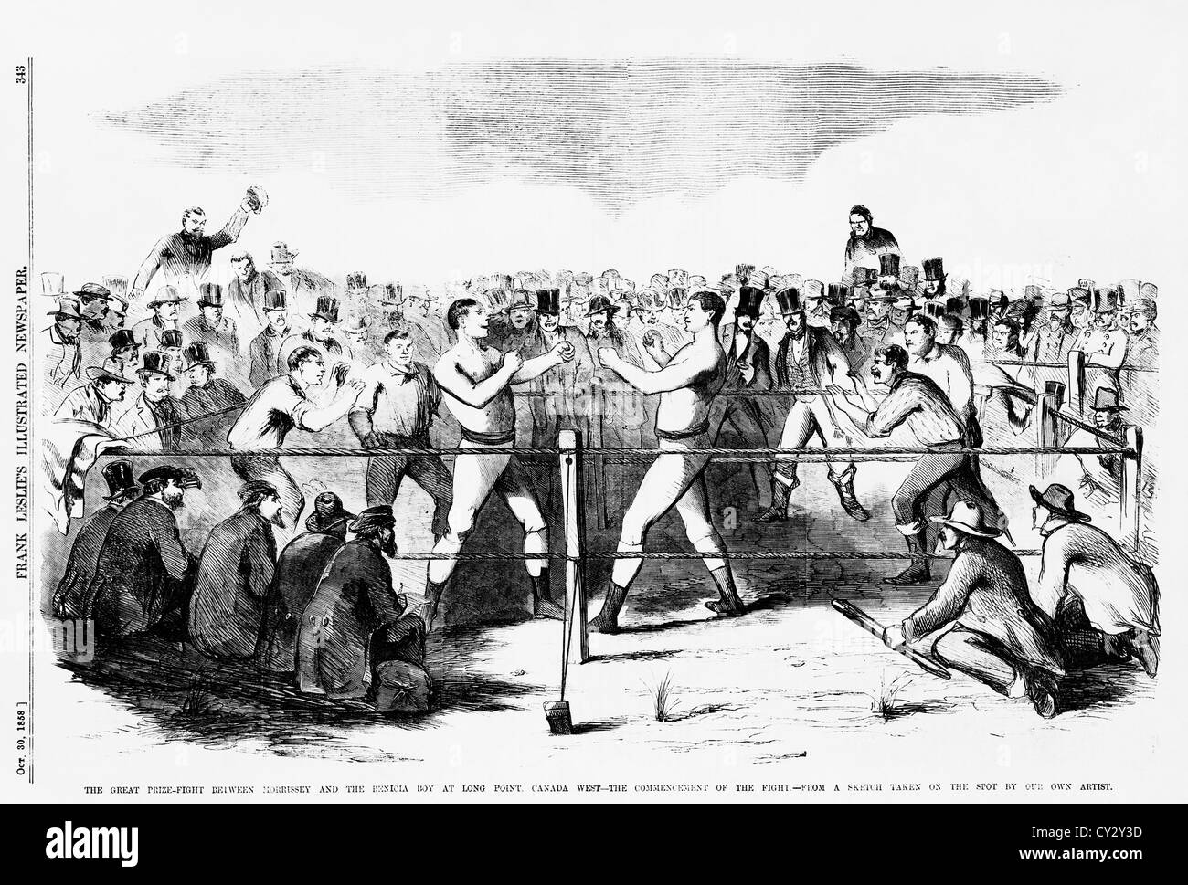 Vintage newspaper illustration depicting the start of the famous bare-knuckle fight for the heavyweight Championship - Stock Image
