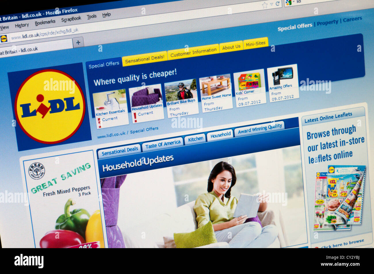 Home page of the Lidl supermarkets web site. - Stock Image