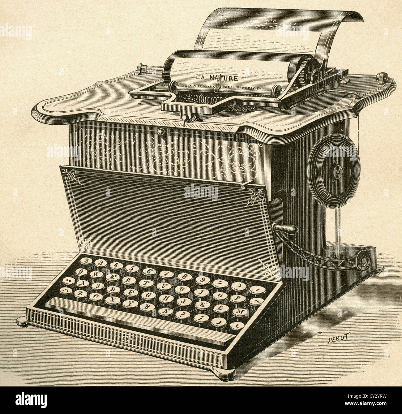 19th century typewriter. - Stock Image