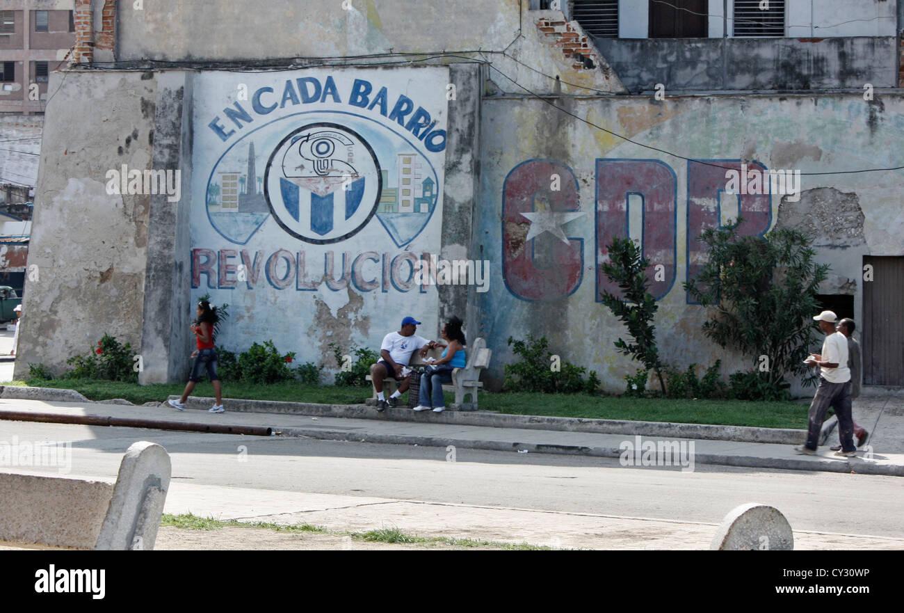 revolutionary mural on a wall in havana, cuba, OCTOBER 2008 - Stock Image