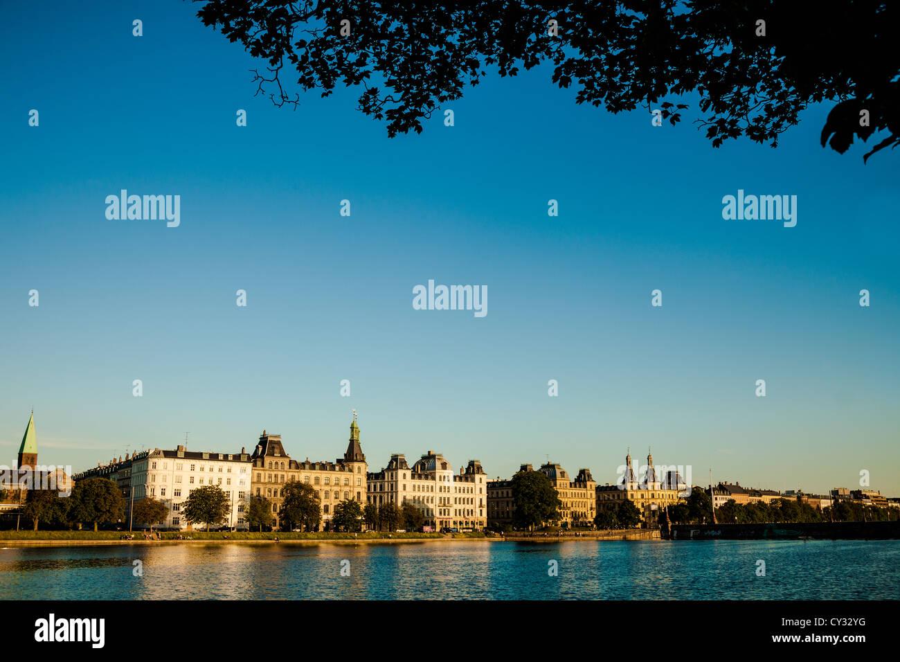 View across Sortedams Sø, one of Copenhagen's lakes - Stock Image