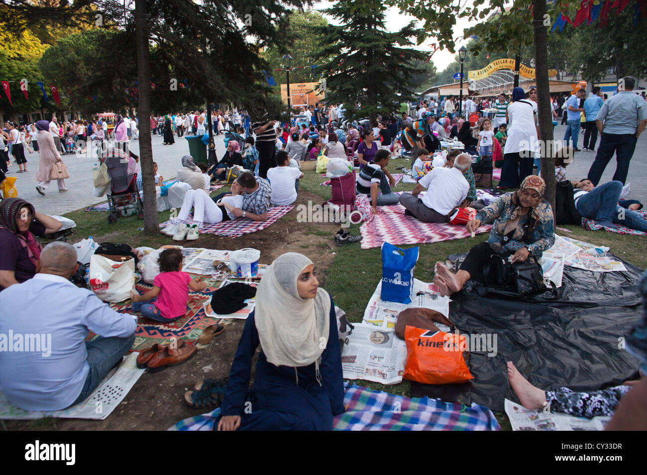 Ramadan picnic in front of the Aya Sofya, istanbul - Stock Image