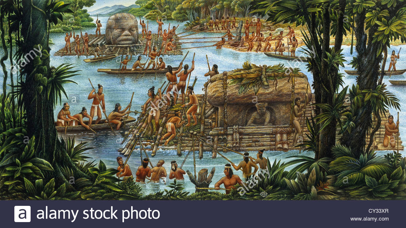 Olmecs Use The River For Transportation Of Sculptures And