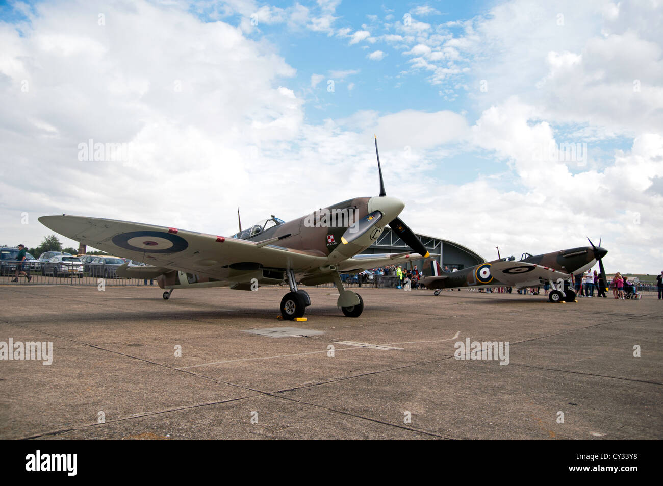 Display of Battle of Britain Spitfire Aircraft - Stock Image