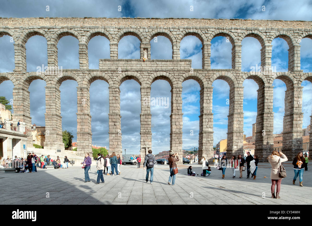 The great Roman aqueduct in Segovia, northern Spain, one of the best-preserved ancient monuments left on the Iberian - Stock Image