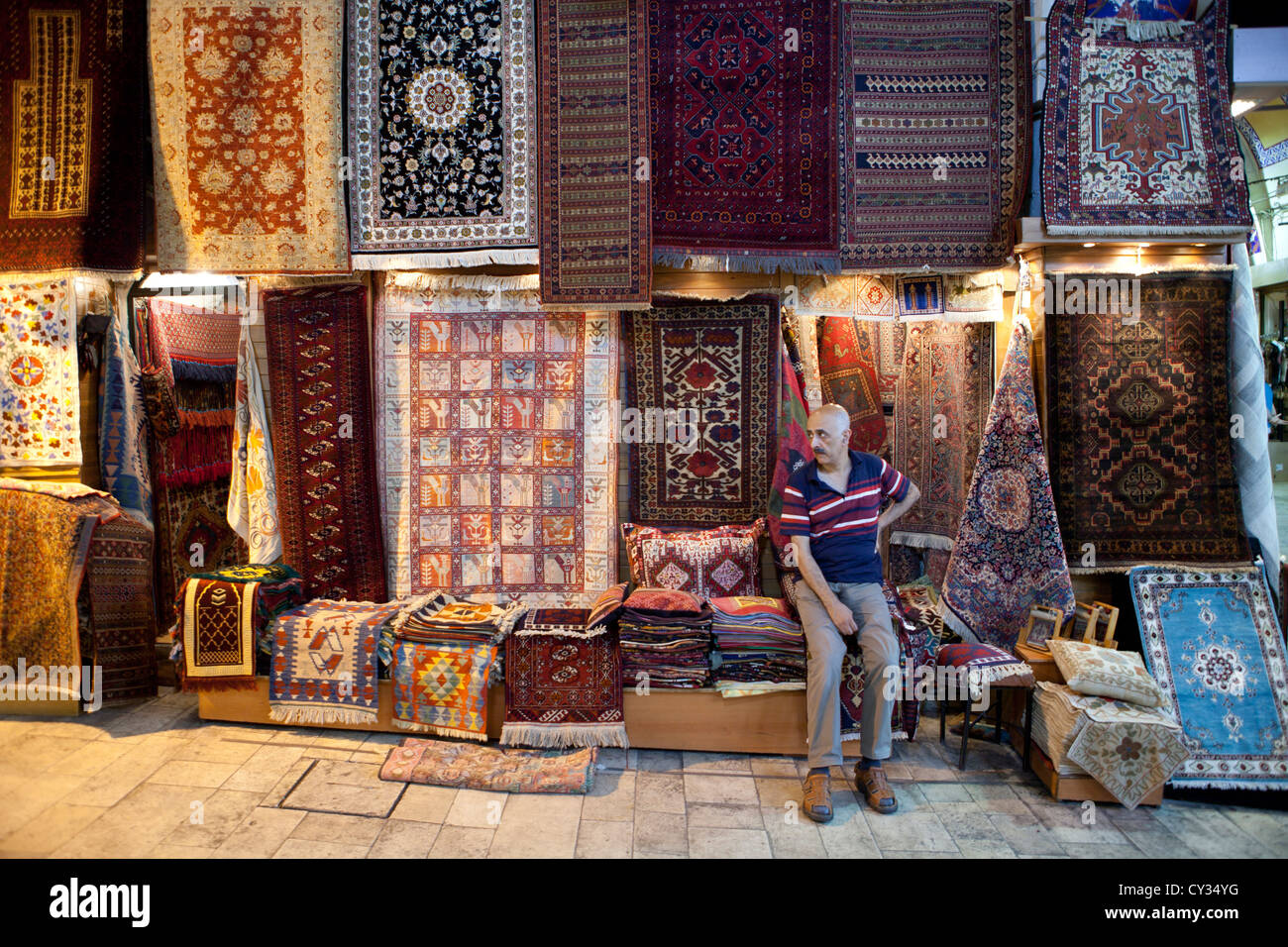 rugs craftmanship skill design carpet pattern Turk - Stock Image