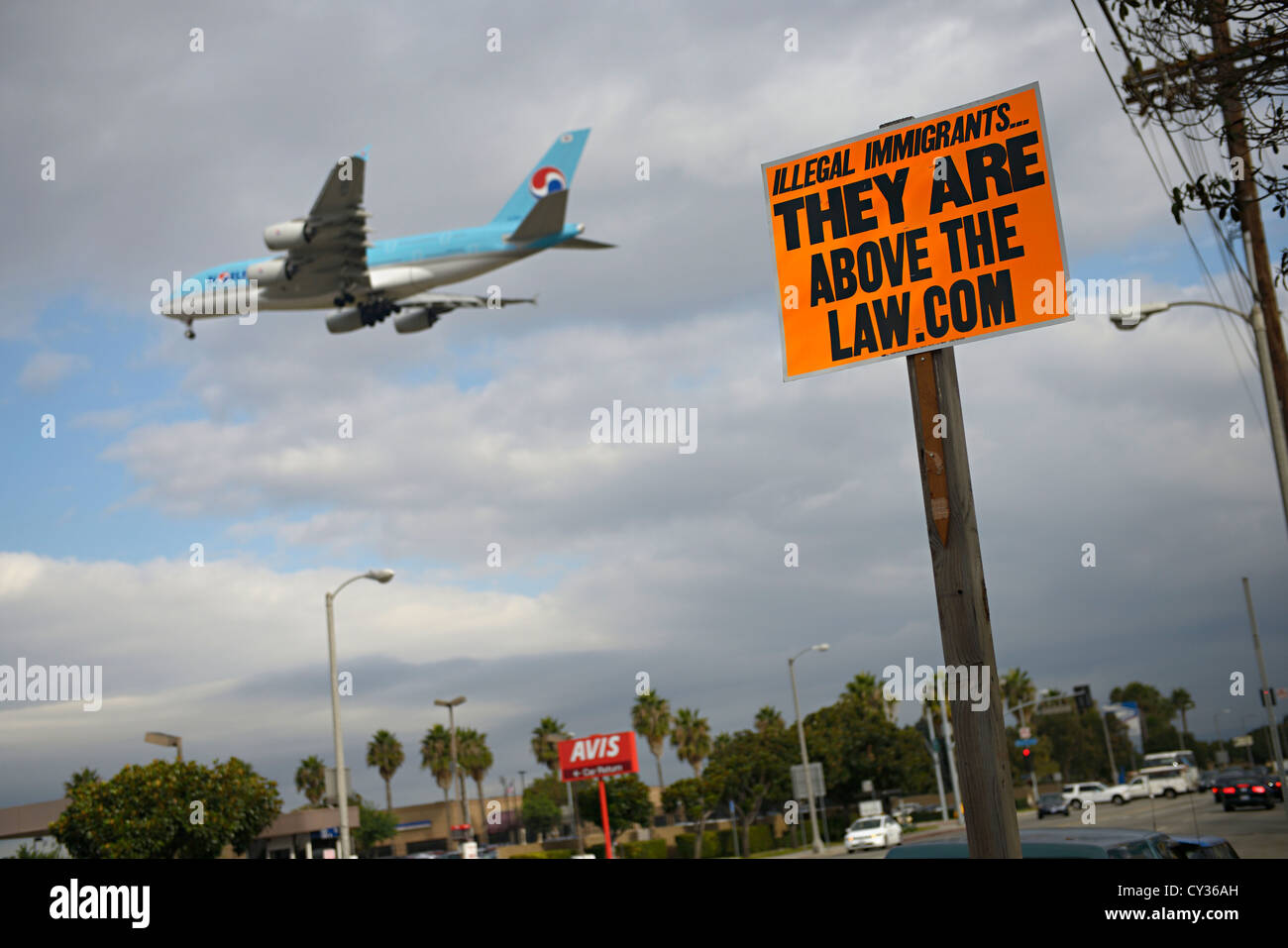 illegal immigrant sign lax airport los angeles - Stock Image
